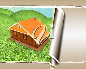 background of wooden travel house or a hotel, with torn paper