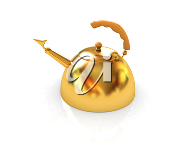 Glossy golden kettle on a white background