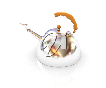 Glossy chrome kettle on a white background