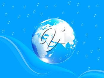 Blue water drops background and earth