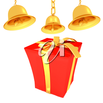 Gold bell and red gift box with golden ribbon on white background