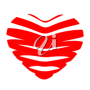 3d beautiful red glossy heart of the bands on a white background