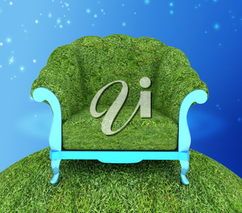 Herbal armchair against the background the starry sky