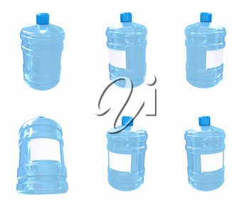 Set of bottle with clean blue water  on a white background