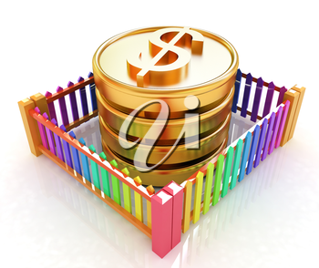 Dollar coin in closed colorfull fence concept illustration on a white background