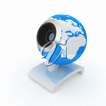Web-cam for earth.Global on line concept on a white background