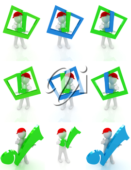 Set of 3d man in a red peaked cap with thumb up and a huge tick on a white background