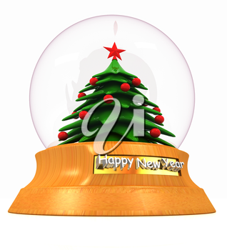 Christmas Snow globe with the falling snow and christmas tree on a white background