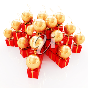 Bright christmas gifts and toys on a white background