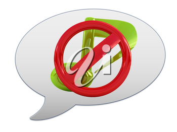 messenger window icon. Prohibition of noise and music