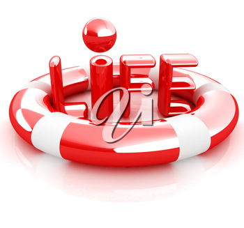Concept of life-saving.3d illustration. Global