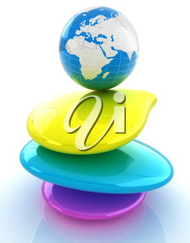 Colorfull earth on spa stones. 3d icon