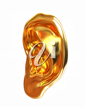 Ear gold 3d render isolated on white background