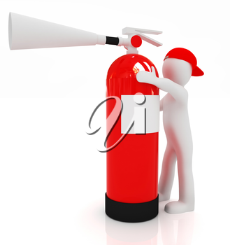 3d man with red fire extinguisher on a white background