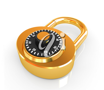 Illustration of security concept with gold locked combination pad lock on a white background