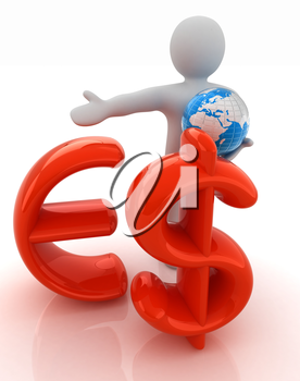 3d people - man, person presenting - euro and dollar with global concept with Earth
