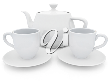 3d cups and teapot on a white background