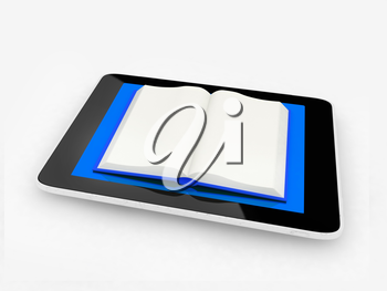 tablet pc and opened book on white background