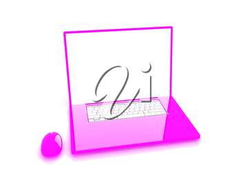 Pink laptop on a white background