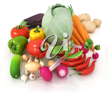 fresh vegetables with green leaves on a white background