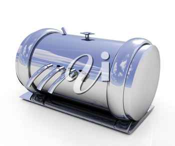 3d Abstract chrome metal pressure vessel