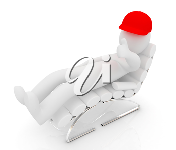 3d white man lying chair with thumb up on white background