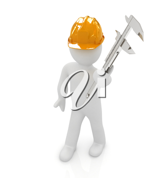 3d man engineer in hard hat with vernier caliper on a white background