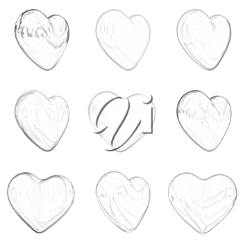 Gold hearts set for wedding design on a white background