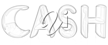 3d illustration of text 'cash' on a white background