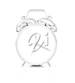 Gold alarm clock on a white background