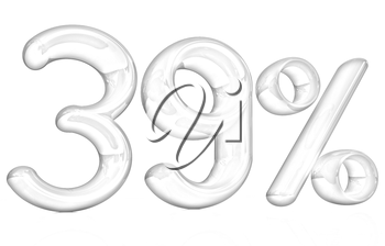 3d red 39 - thirty nine percent on a white background