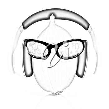Ripe onion with sun glass and headphones front face on a white background