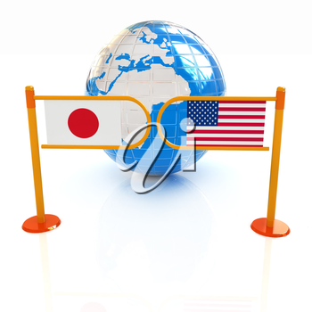Three-dimensional image of the turnstile and flags of USA and Japan on a white background