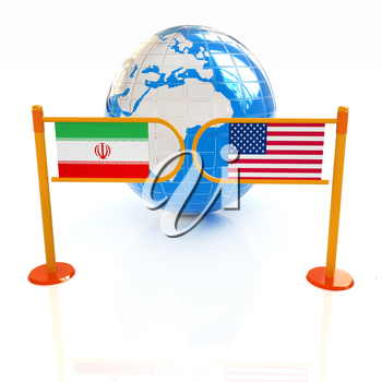Three-dimensional image of the turnstile and flags of USA and Iran on a white background
