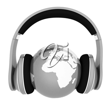 World music 3D render of planet Earth with headphones  on a white background