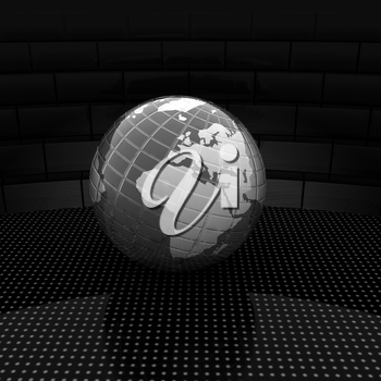 Earth ball on light path to infinity. 3d render