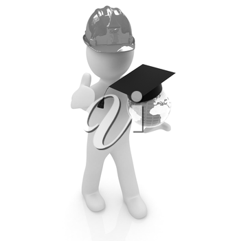 3d man in a hard hat with thumb up presents the best global technical education on a white background