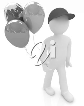 3d man keeps balloons of earth and colorful balloons . Global holiday on a white background