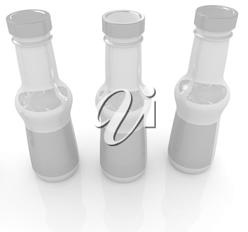Plastic milk products bottles set on a white background