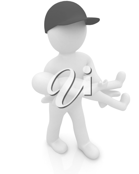 3d man with child. 3d render on a white background