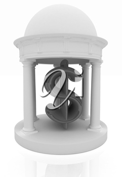 Dollar sign in rotunda on a white background