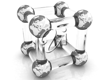 Abstract molecule model of the Earth on a white
