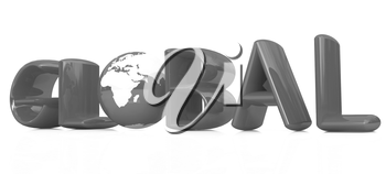 3d text Global with globe on a white background