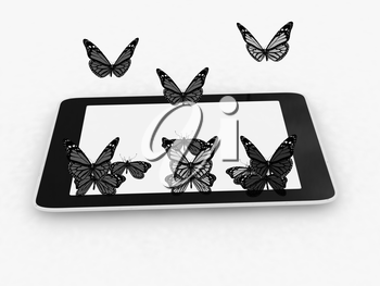 butterflies on a phone on a white background
