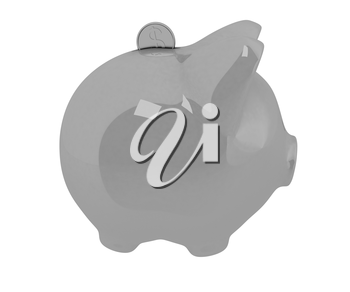 piggy bank and falling coins on white background