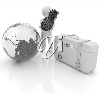 3d man with pineapple,earth and traveler's suitcase on a white background
