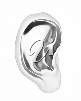 Ear metal 3d render isolated on white background