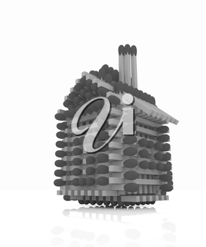 Log house from matches pattern on white