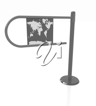 Three-dimensional image of the turnstile on a white background