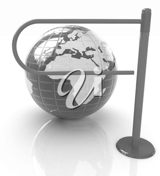Three-dimensional image of the turnstile and earth
